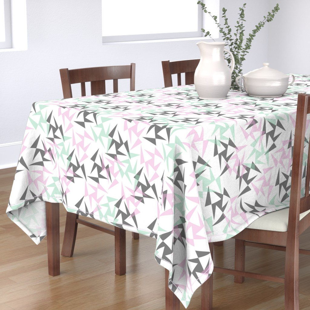 Bantam Rectangular Tablecloth featuring Geo Wheels - White by merry_makewell_designs