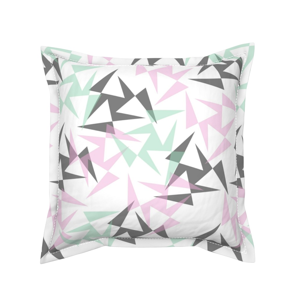 Serama Throw Pillow featuring Geo Wheels - White by merry_makewell_designs