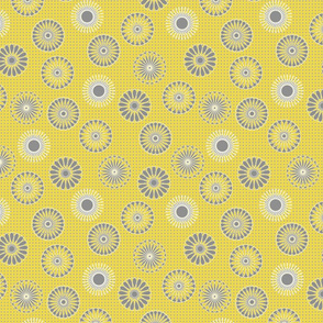 mandala motifs yellow and gray