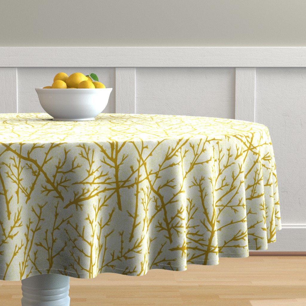 Malay Round Tablecloth featuring branchy - mustard-sun by cinneworthington
