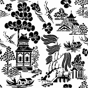 chinoiserie villages 2 black and white copy