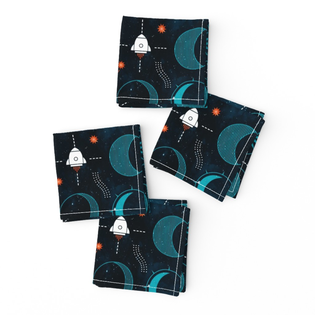 Frizzle Cocktail Napkins featuring Rocket to the moon by adenaj