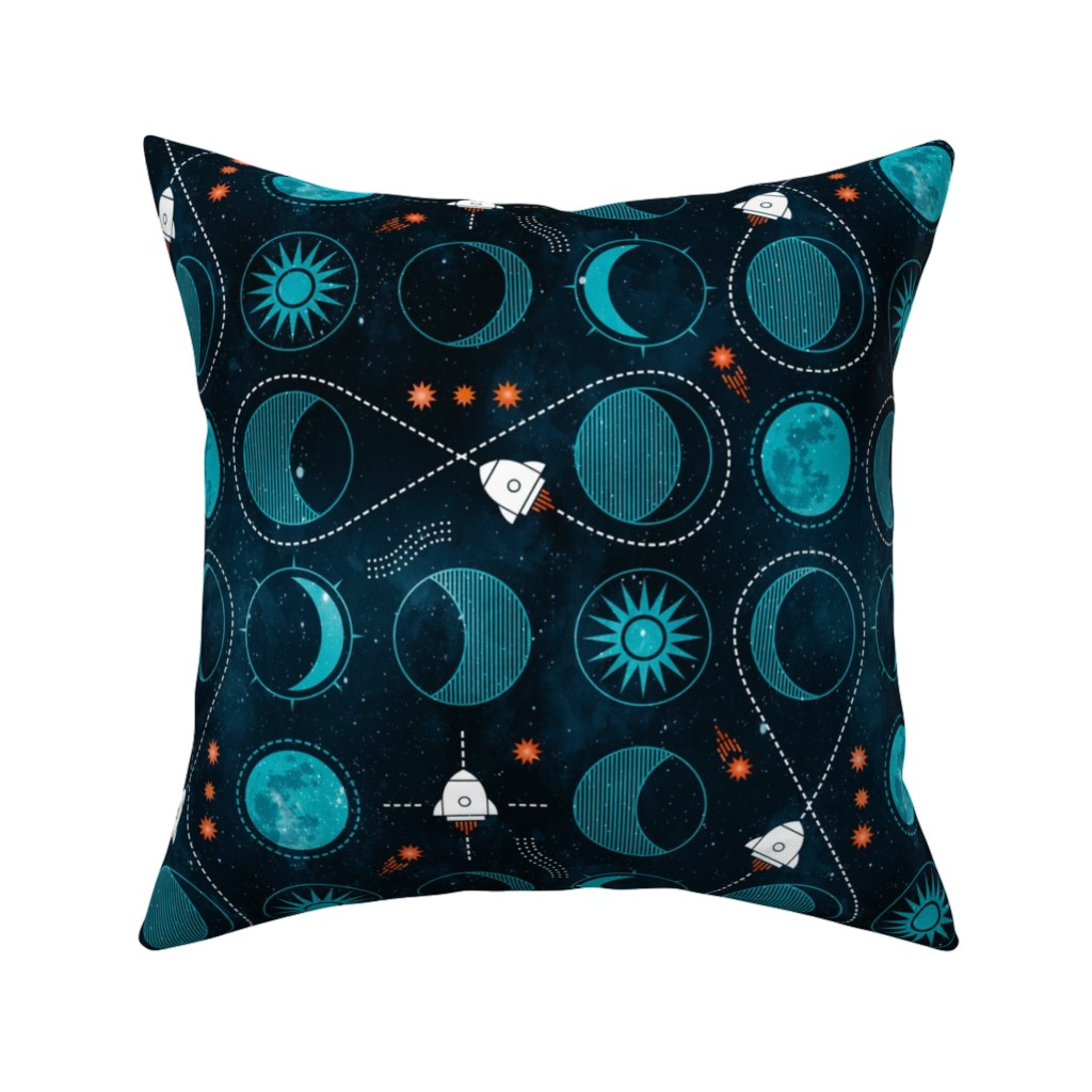 Catalan Throw Pillow featuring Rocket to the moon by adenaj