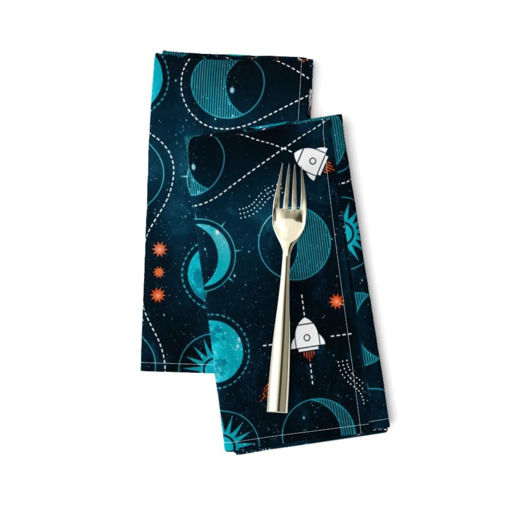 Amarela Dinner Napkins featuring Rocket to the moon by adenaj