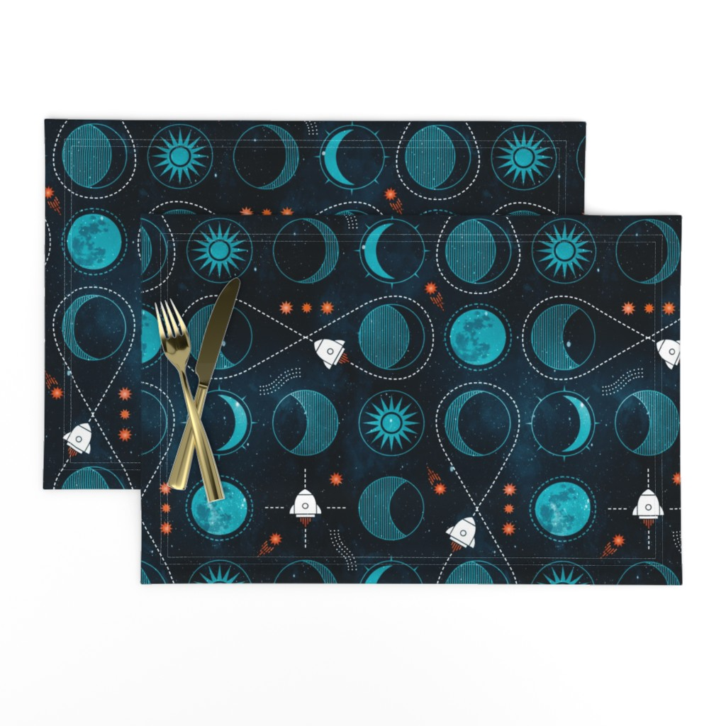 Lamona Cloth Placemats featuring Rocket to the moon by adenaj