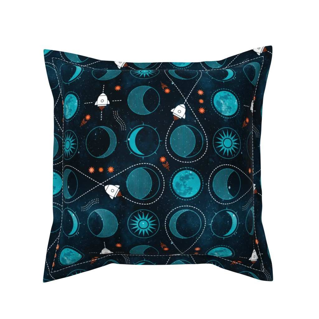 Serama Throw Pillow featuring Rocket to the moon by adenaj