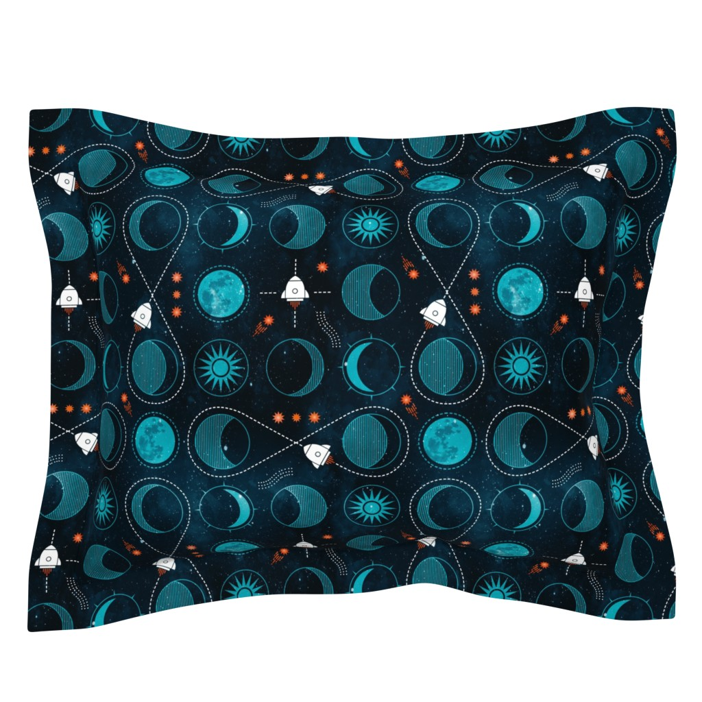 Sebright Pillow Sham featuring Rocket to the moon by adenaj