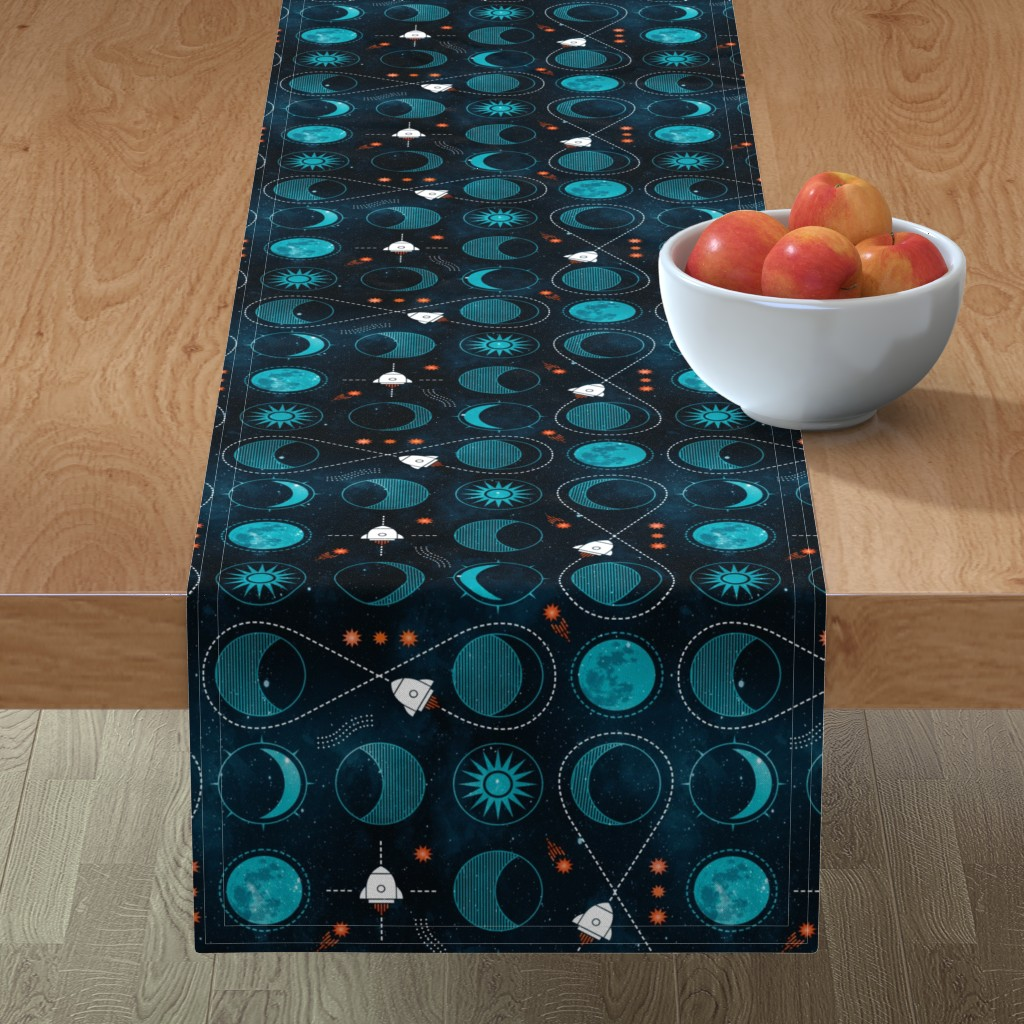 Minorca Table Runner featuring Rocket to the moon by adenaj