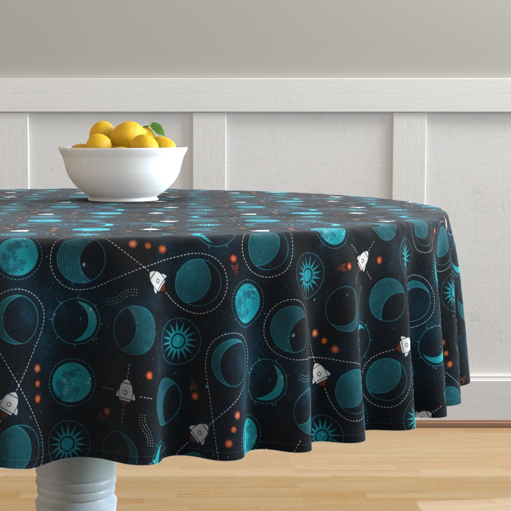 Malay Round Tablecloth featuring Rocket to the moon by adenaj