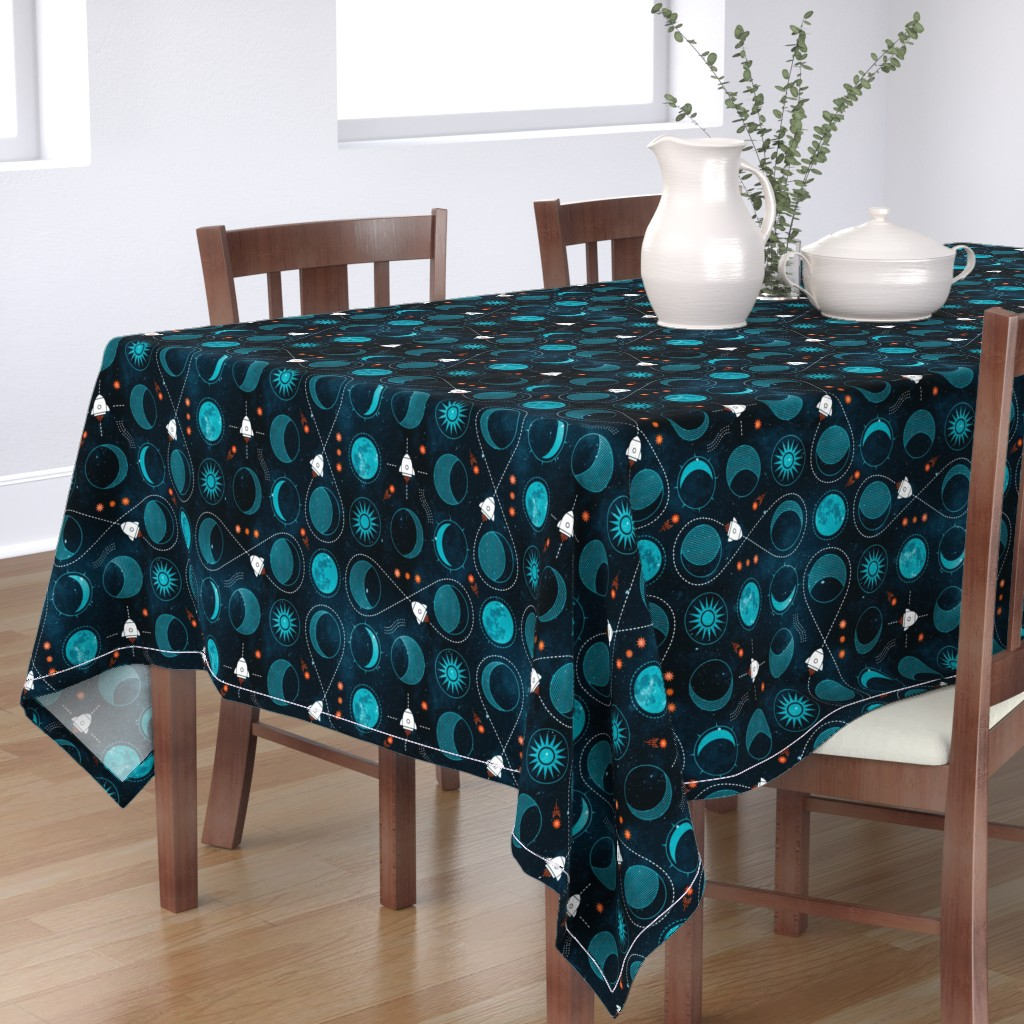 Bantam Rectangular Tablecloth featuring Rocket to the moon by adenaj
