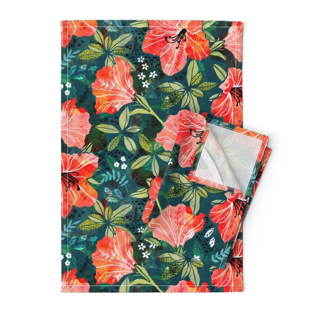 Orpington Tea Towels featuring Vibrant Rhododendrons by adenaj