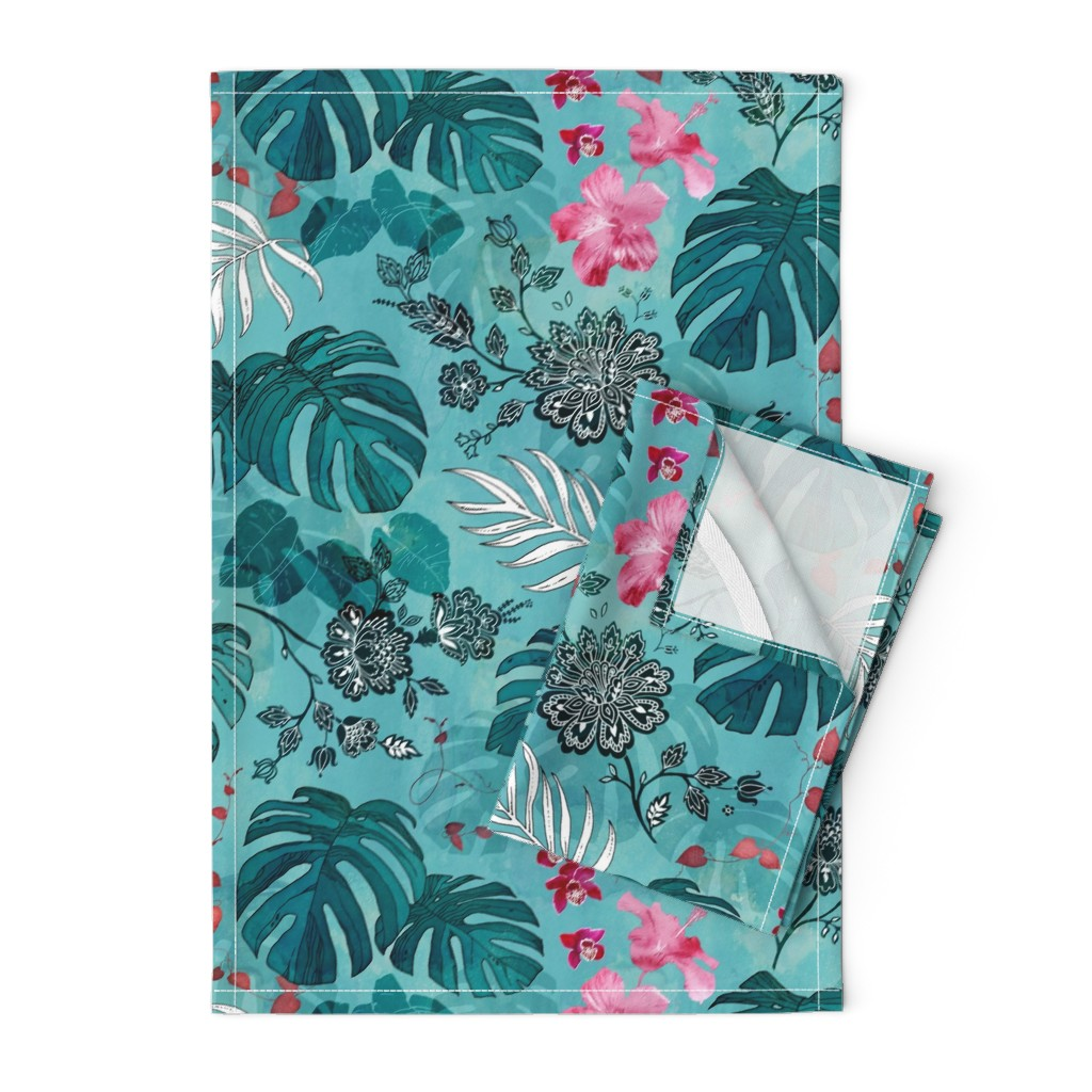Orpington Tea Towels featuring Tropical Paisley by adenaj