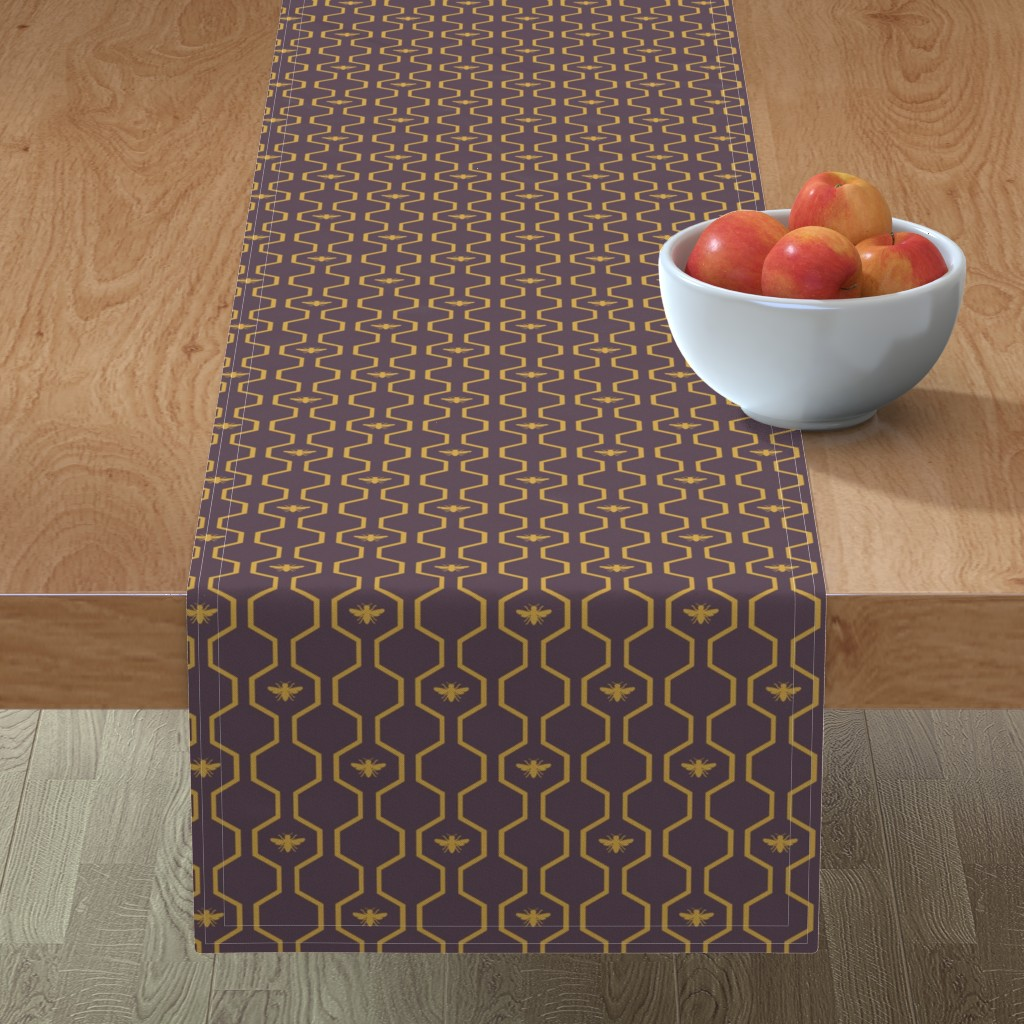 Minorca Table Runner featuring Bee Hive - Purple by the_wookiee_workshop