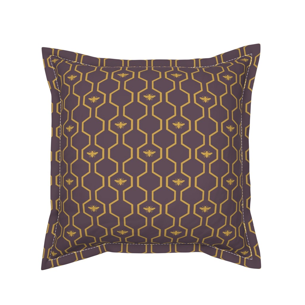 Serama Throw Pillow featuring Bee Hive - Purple by the_wookiee_workshop