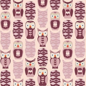 Owls and Hearts in Pink & Purple