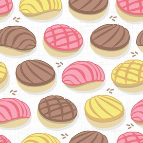 Small scale // Mexican conchas // white background pink yellow & brown shells