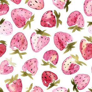 Small scale watercolor strawberries