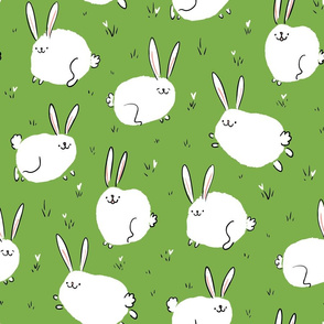 Fluffy cheerful bunnies on a green field Large Scale