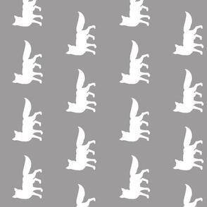 "4"" white fox on grey - ROT"