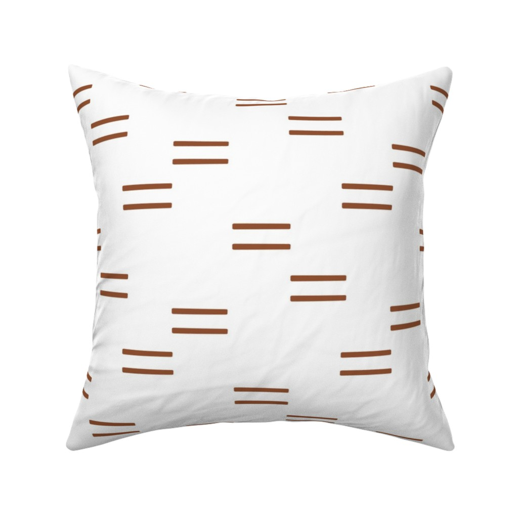 Catalan Throw Pillow featuring double dash 2 - rust on white C18BS by littlearrowdesign