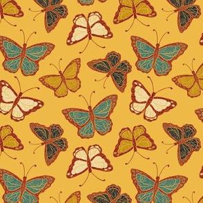 Butterflies - mustard/multi small