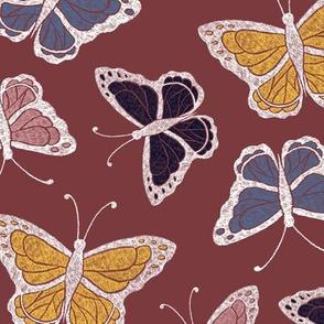 Butterflies - plum/multi