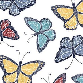 Butterflies - white/multi