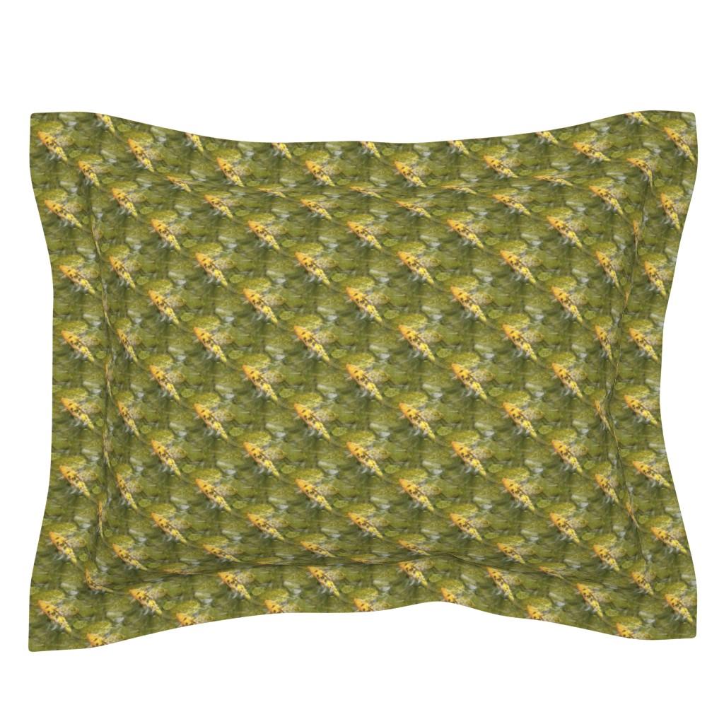 Sebright Pillow Sham featuring Sunny Koi | Seamless Underwater Photo Print by lochnestfarm