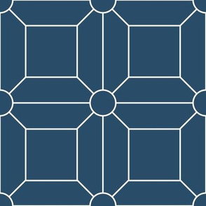 Dark Blue with White Grid