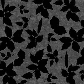 Black Foliage Silouettes on Gray Texture