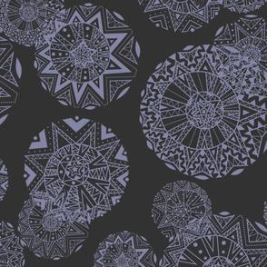 Shapes And Lines Jumbo Purple On Black