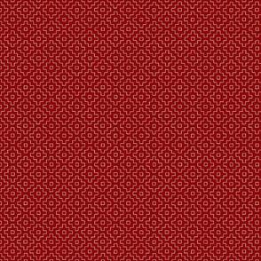 Persimmon Hitomezashi Sashiko White on Red