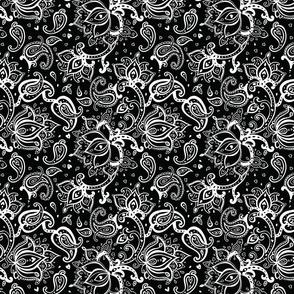 White Ornate Paisley on Black