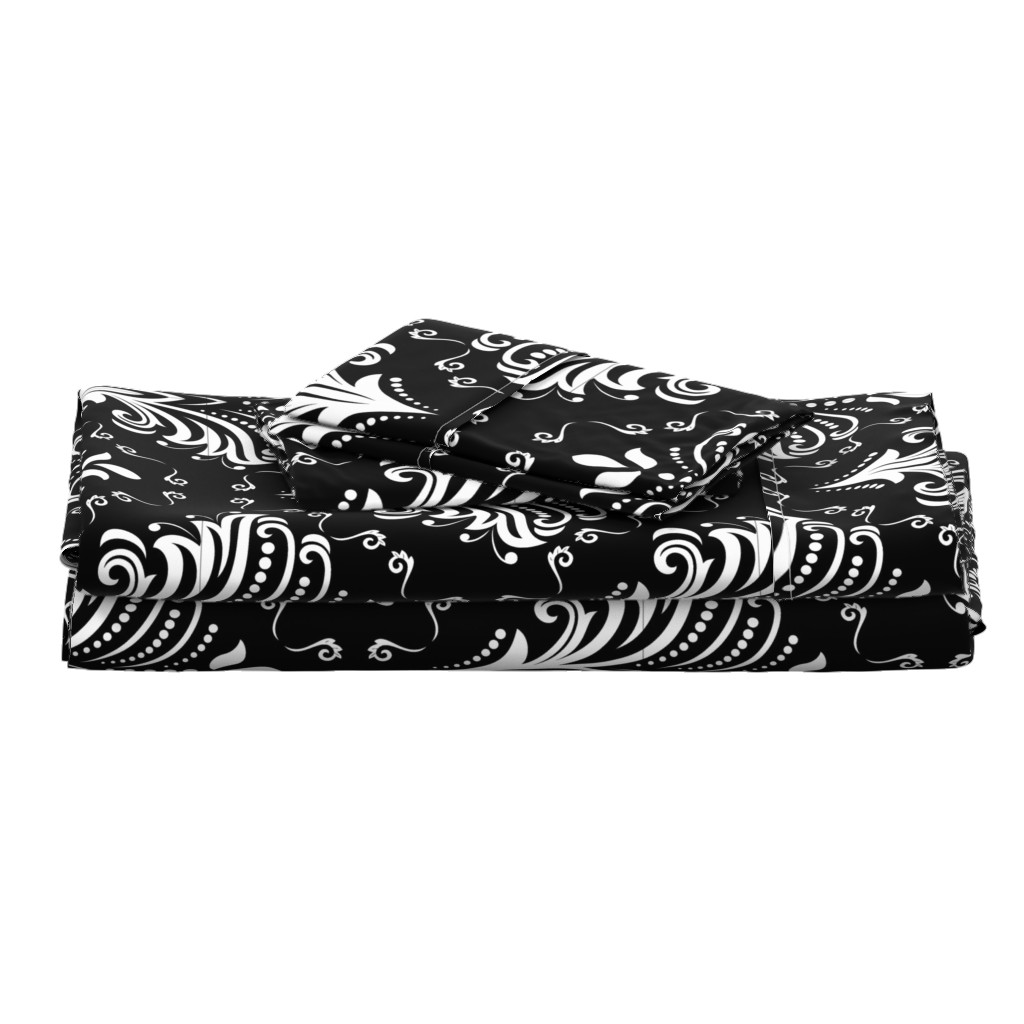 Langshan Full Bed Set featuring Damask Large Floral White on Black by fabric_is_my_name