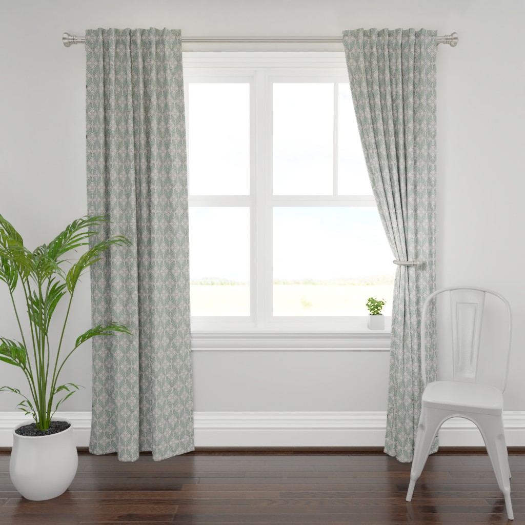 Plymouth Curtain Panel featuring Mint leaves art deco by ekpdesign