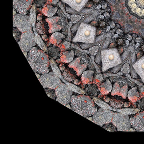 Red Rubble Kaleidoscope with Glass Marbles