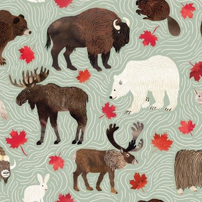 Canadian Animals on Mint Green  - smaller scale