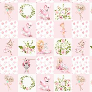 """14"""" Ballett Dance - Little Ballerinas and Cute Animals Patchwork - baby girls quilt cheater quilt fabric - spring animals flower fabric, baby fabric, cheater quilt fabric"""