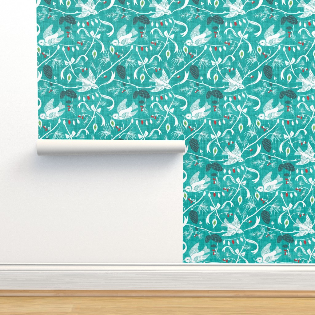Isobar Durable Wallpaper featuring Merry Forest - Christmas Chinoiserie Aqua by heatherdutton