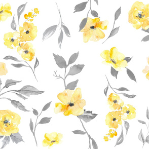 Custom - Yellow And Grey Floral (large scale)