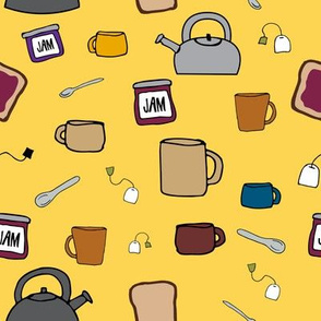 Tea, A Drink with Bread and Jam 1.0 on Golden Yellow