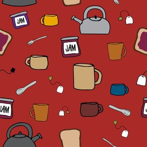 Tea, A Drink with Bread and Jam 1.0 on Red