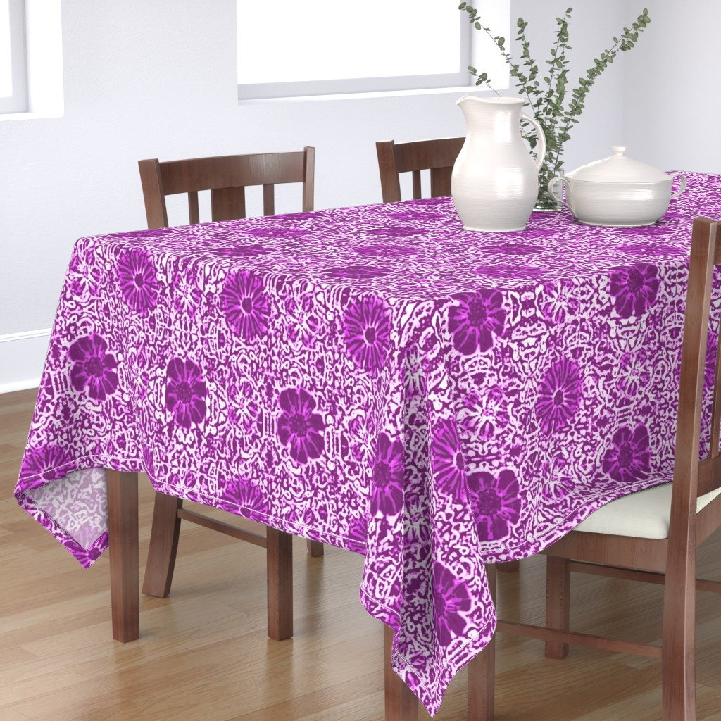Bantam Rectangular Tablecloth featuring Purple Lace Batik by clearwaterzstudio