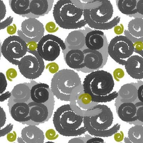 Gray and Olive Spirals on White