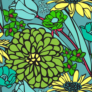 Mod Floral Jumbo Green & Blue colors