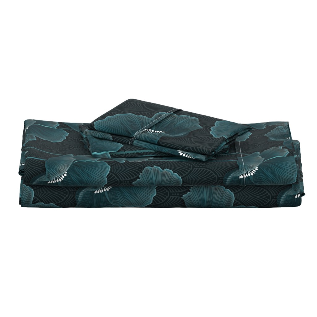 Langshan Full Bed Set featuring Art Deco Poppies TEAL by j9design