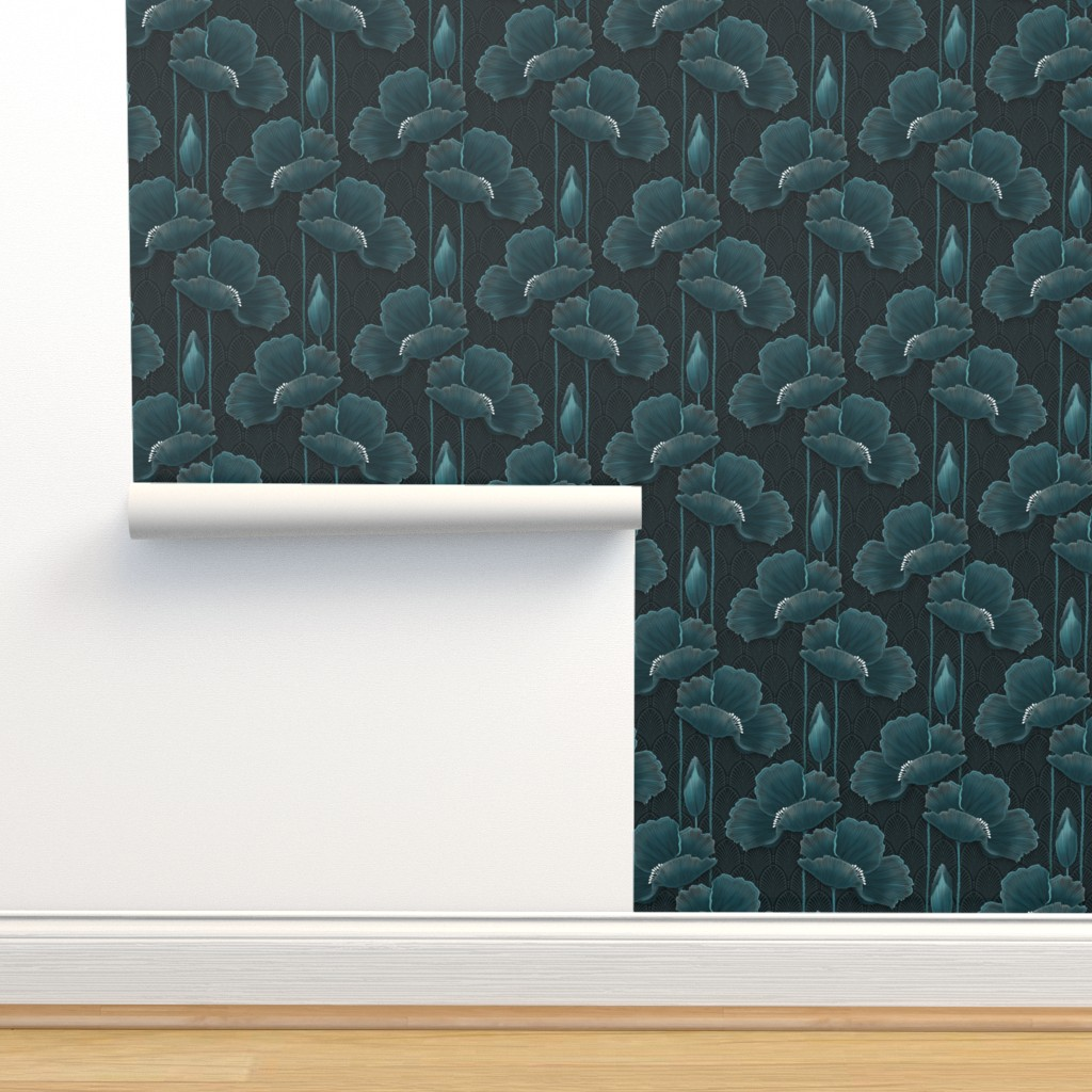 Isobar Durable Wallpaper featuring Art Deco Poppies TEAL by j9design