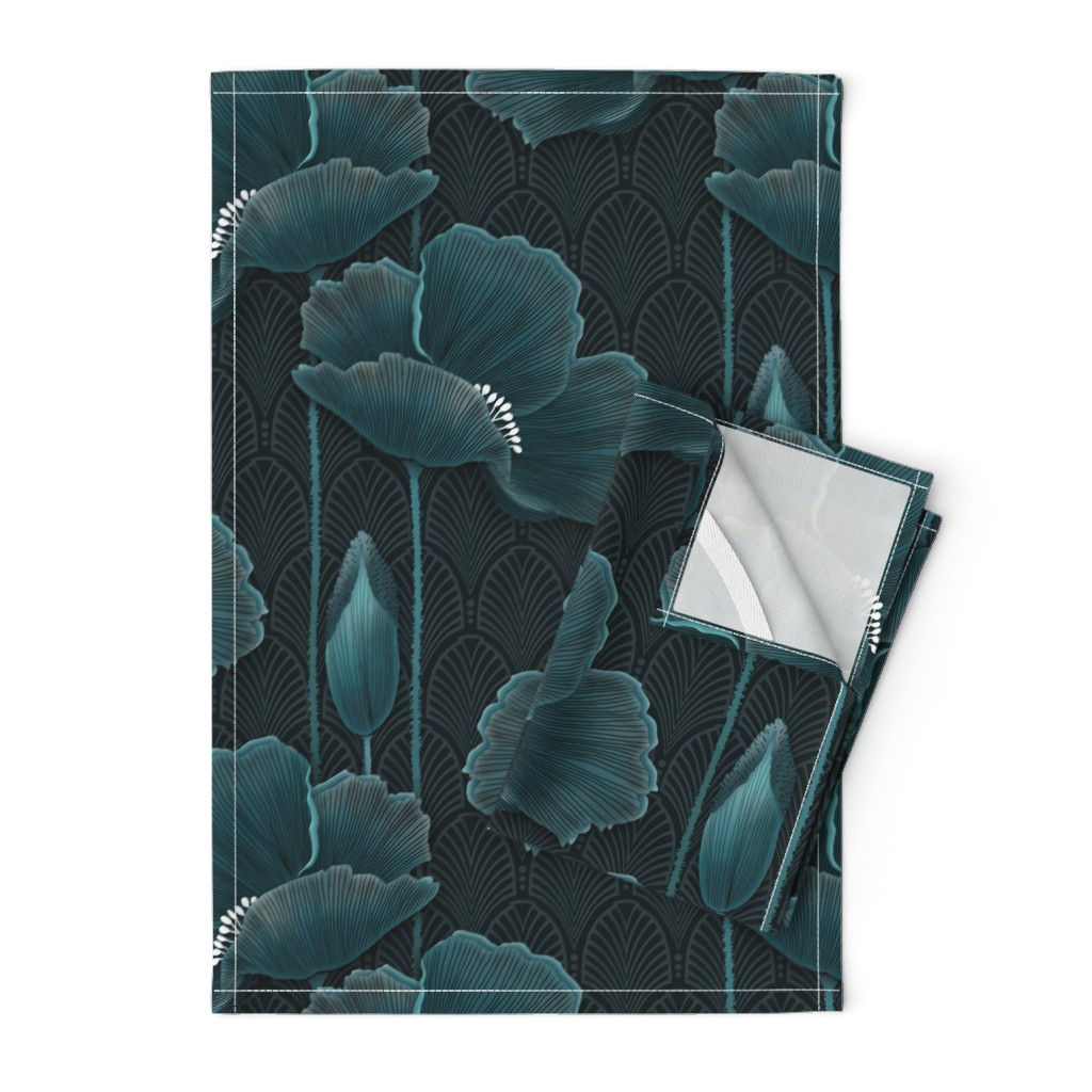 Orpington Tea Towels featuring Art Deco Poppies TEAL by j9design