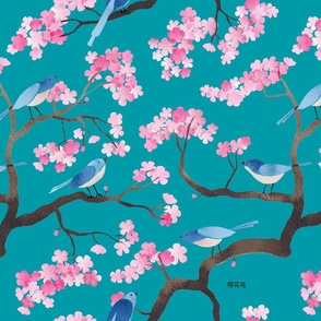cherry blossom birds aqua