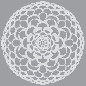 Oriental Dahlia Blooms in Shades of Grey - Extra Large Scale